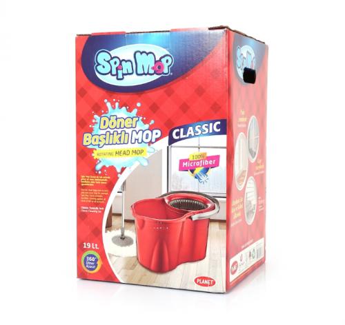 Spin Mop Classic Döner Başlıklı Mop Seti Kırmızı 19 L